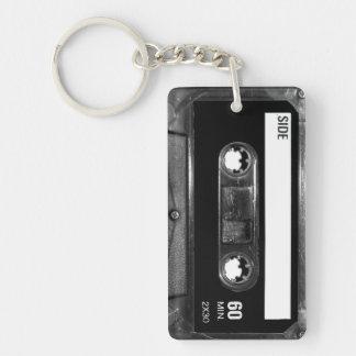 Black Label Cassette Double-Sided Rectangular Acrylic Keychain