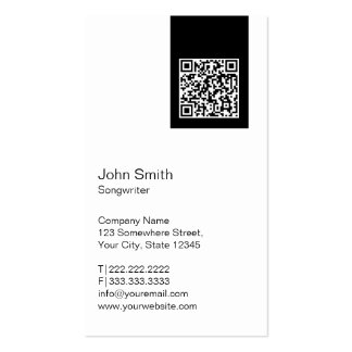 Black Label QR Code Songwriter Business Card