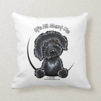 Black Labradodle IAAM Throw Pillow