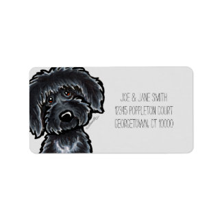 Black Labradoodle Art Gray Mod Label