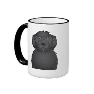 Black Labradoodle Cartoon Coffee Mugs