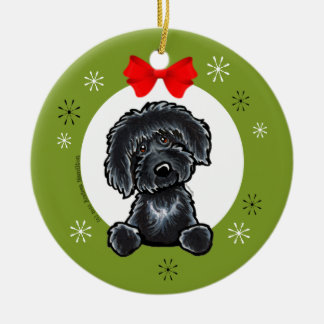 Black Labradoodle Christmas Classic Ceramic Ornament