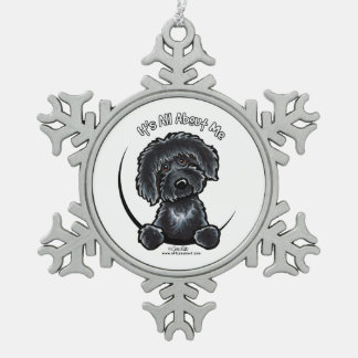 Black Labradoodle IAAM Snowflake Pewter Christmas Ornament