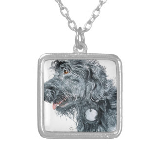 Black Labradoodle Silver Plated Necklace