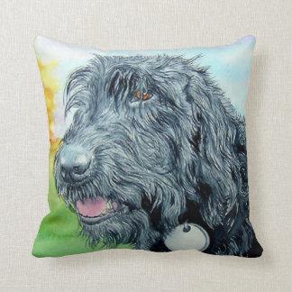 Black Labradoodle Throw Pillows