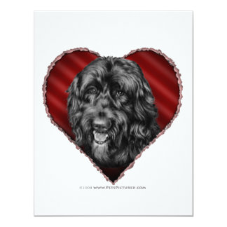 Black Labradoodle with Heart Personalized Announcements