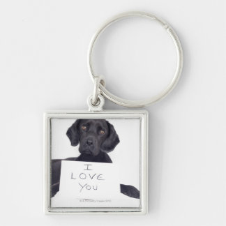 Black Labrador 13 Months Silver-Colored Square Keychain