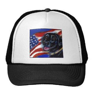 Black Labrador American Flag Trucker Hat