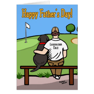 Black Labrador and  Dad at Golf Course Brown Hair Card