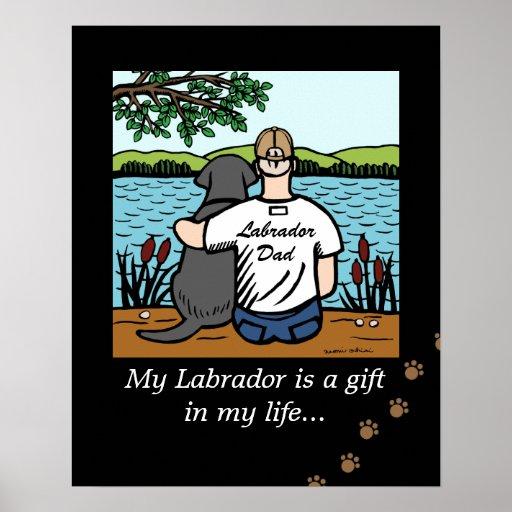 Black Labrador and Dad Cartoon Poster