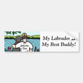 Black Labrador and Dad Lake View 2 Bumper Sticker