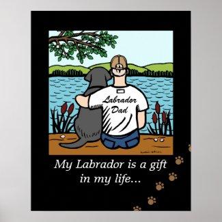 Black Labrador and Dad Poster