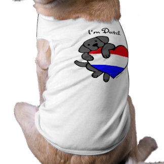 Black Labrador and Dutch Heart Cartoon T-Shirt