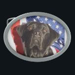 "Black Labrador and Flag Belt Buckle<br><div class=""desc"">My black Lab,  Leif,  poses in front of the &quot;Stars and Stripes&quot; in this portrait photograph.</div>"