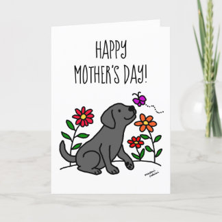 Black Labrador and Green Mother's Day Card