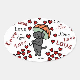 Black Labrador and Rain of Hearts Oval Sticker