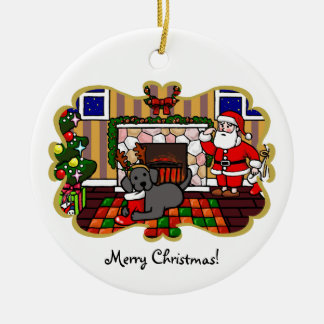 Black Labrador and Santa Christmas Cartoon Ceramic Ornament