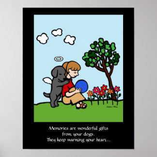 Black Labrador Angel with Love Cartoon 2 Poster