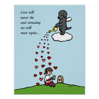 Black Labrador Angel with Love Cartoon Poster