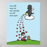 Black Labrador Angel with Love Cartoon Print