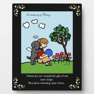 Black Labrador Angel with Love Memorial Photo Plaque
