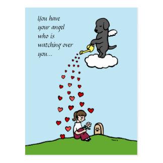 Black Labrador Angel with Love Postcards