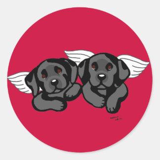 Black Labrador Angels (Rainbow Bridge) Classic Round Sticker