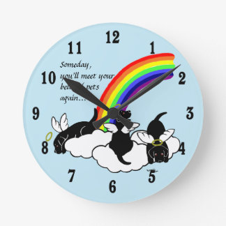 Black Labrador Angels Rainbow Bridge Round Clocks