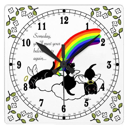 Black Labrador Angels Rainbow Bridge Square Wall Clock