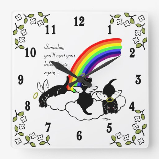 Black Labrador Angels Rainbow Bridge Wall Clock