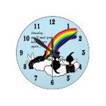 Black Labrador Angels Rainbow Bridge Wall Clocks