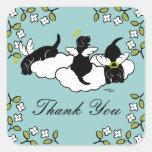 Black Labrador Angels Thank You Square Sticker