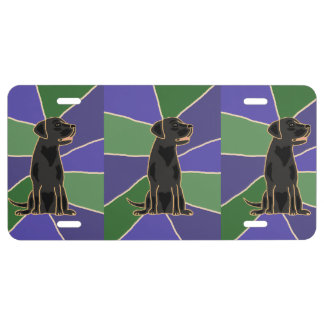 Black Labrador Art Front License Plate