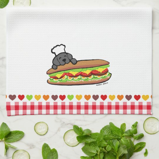 Black Labrador Bakery Cartoon Hand Towels