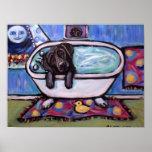 Black Labrador bathtub Poster