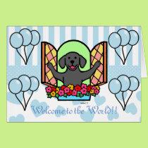 Black Labrador Blue New Baby Boy Congratulations Card