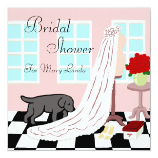 Black Labrador Bridal Shower Card