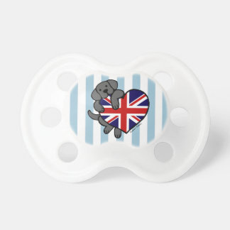 Black Labrador British Heart Baby Pacifiers