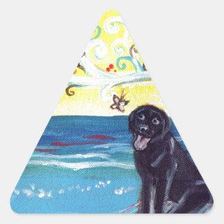 Black Labrador butterfly art deco tree love Triangle Sticker