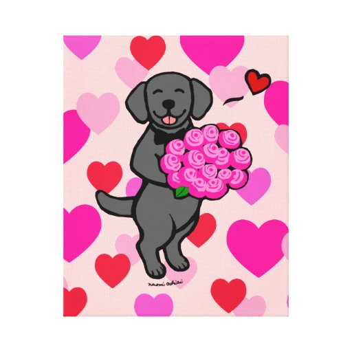Black Labrador Cartoon Heart Canvas Print
