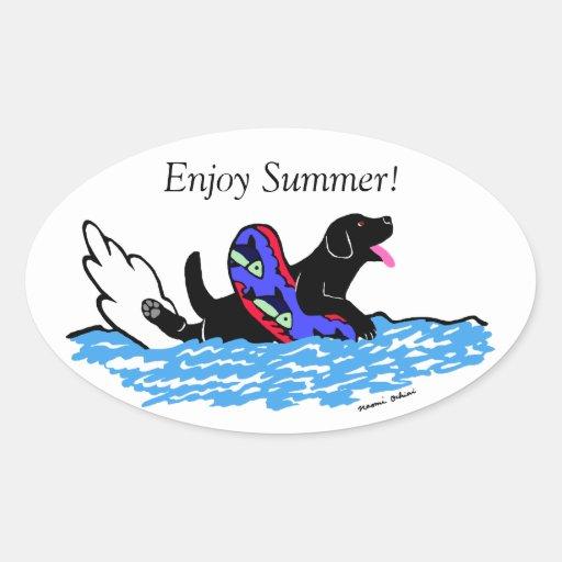 Black Labrador Cartoon Oval Oval Sticker