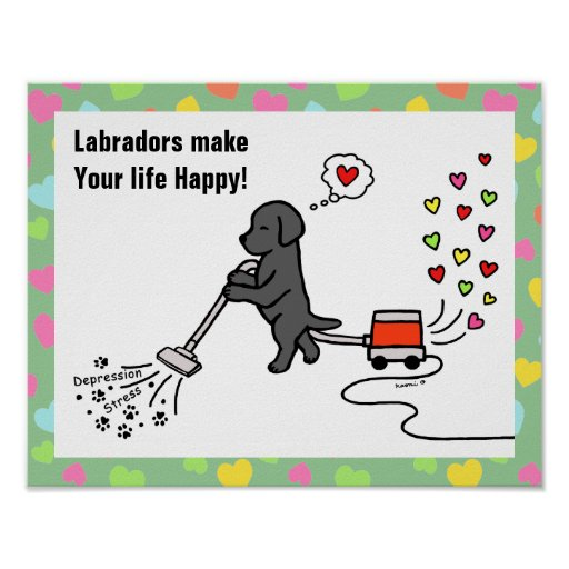Black Labrador Cartoon Poster