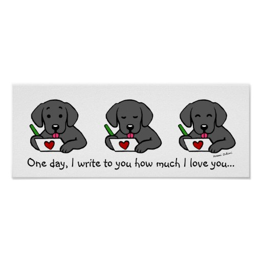 Black Labrador Cartoon Print
