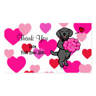 Black Labrador Cartoon Rose Bouquet Double-Sided Standard Business Cards (Pack Of 100)