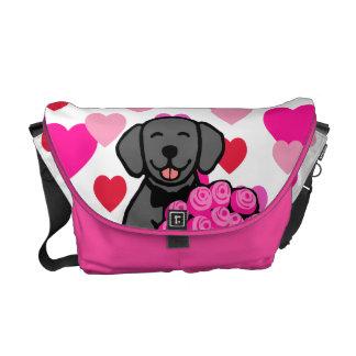 Black Labrador Cartoon Roses Messenger Bags