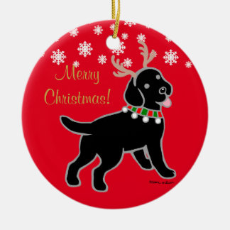 Black Labrador Christmas Antlers Ceramic Ornament