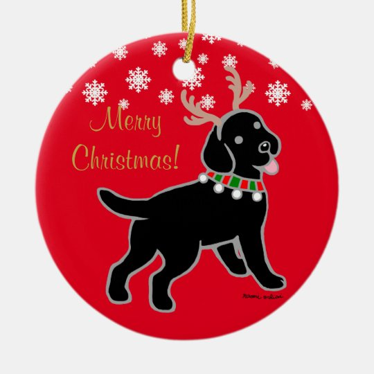 Black Labrador Christmas Antlers Ceramic Ornament