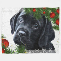 Black Labrador Christmas Fleece Blanket