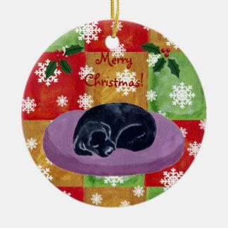 Black Labrador Christmas Mosaic Snowflake Ceramic Ornament
