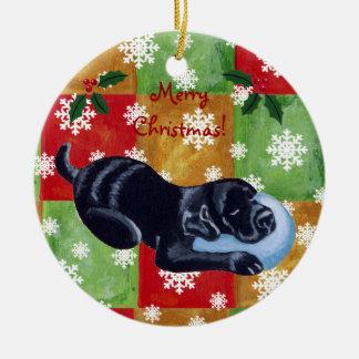 Black Labrador Christmas Mosaic Snowflake Christmas Tree Ornaments